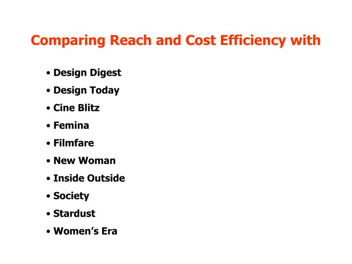 Comparing Reach and Cost Efficiency with