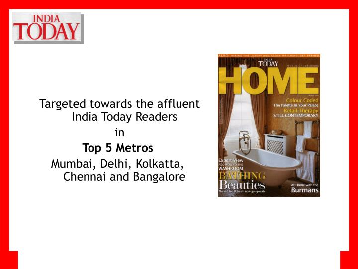 Targeted towards the affluent India Today Readers