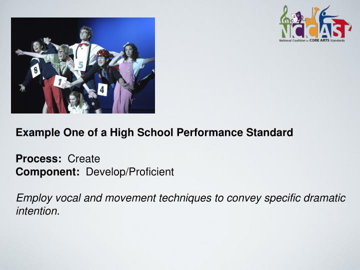Example One of a High School Performance Standard