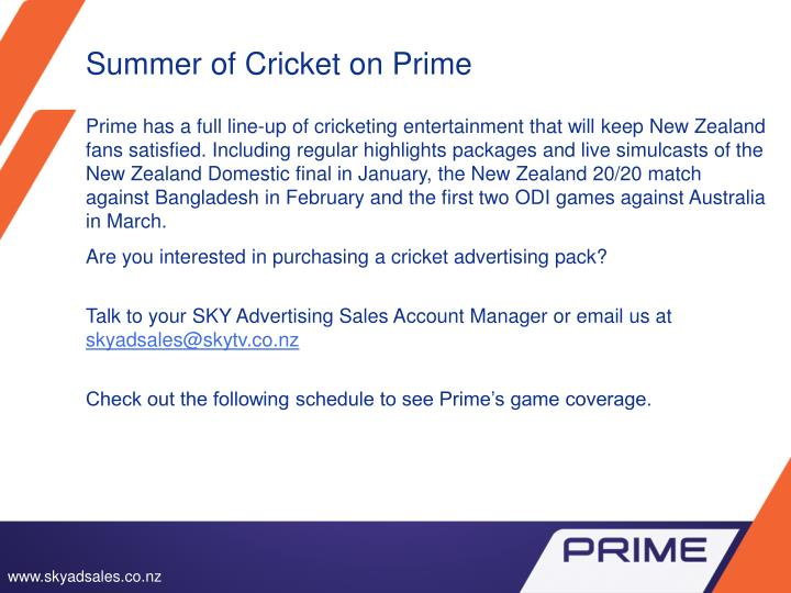 Summer of cricket on prime