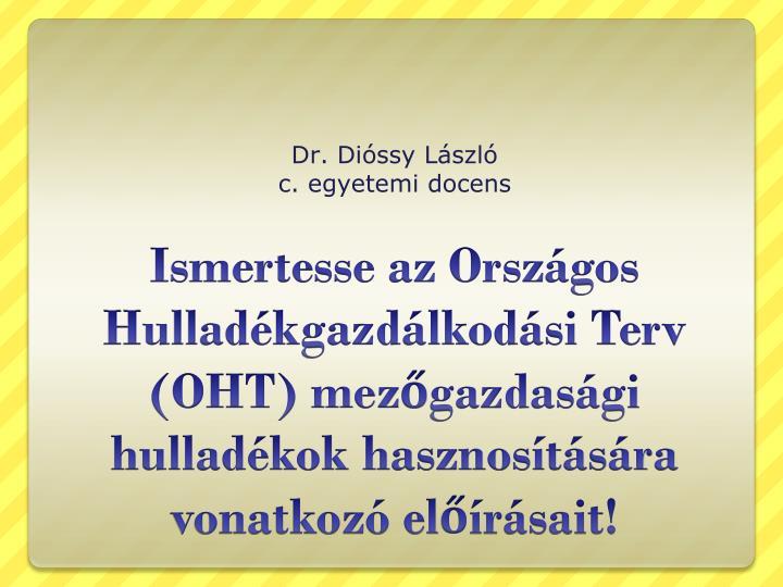 dr di ssy l szl c egyetemi docens n.