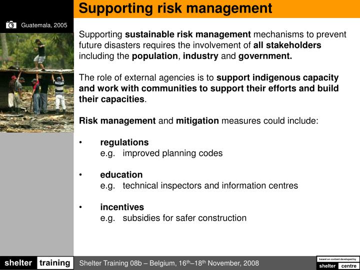 Supporting risk management