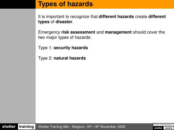 Types of hazards
