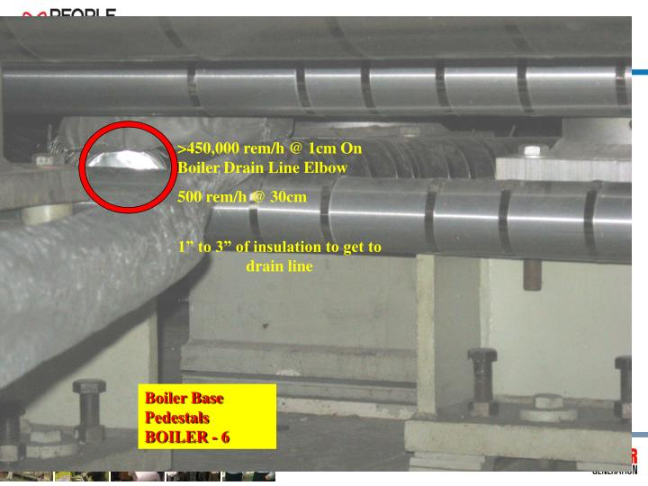 >450,000 rem/h @ 1cm On Boiler Drain Line Elbow