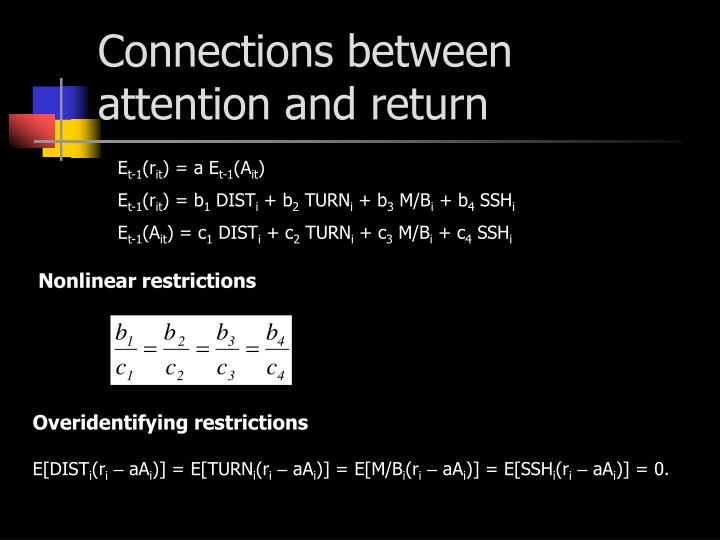 Connections between attention and return