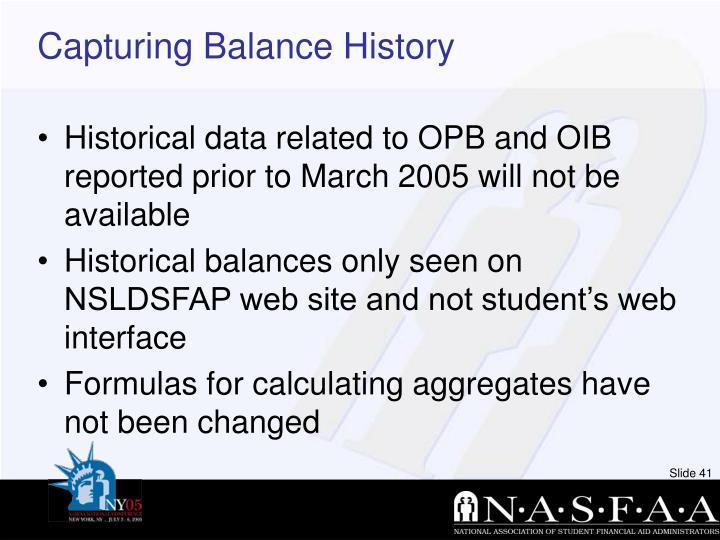 Capturing Balance History