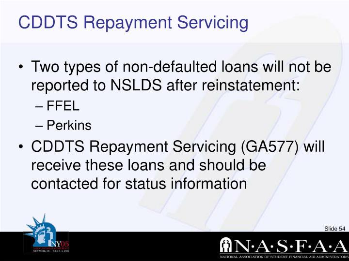 CDDTS Repayment Servicing