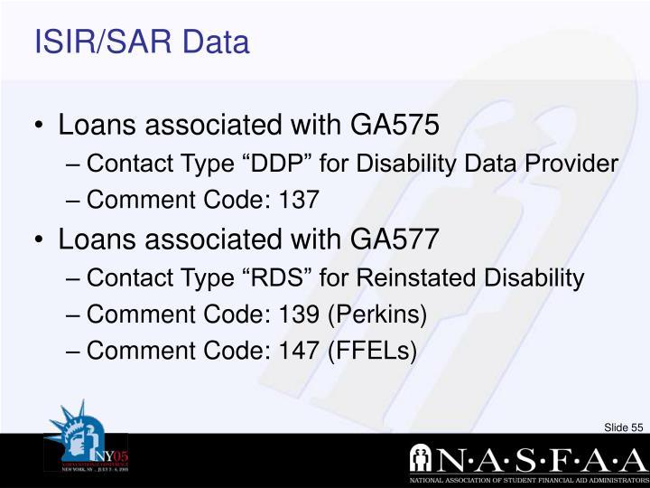 ISIR/SAR Data