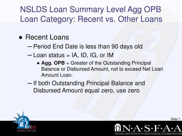 NSLDS Loan Summary Level Agg OPB