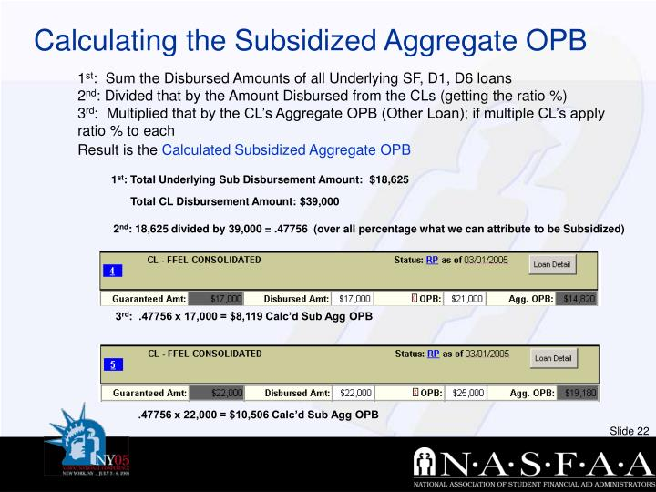 Calculating the Subsidized Aggregate OPB