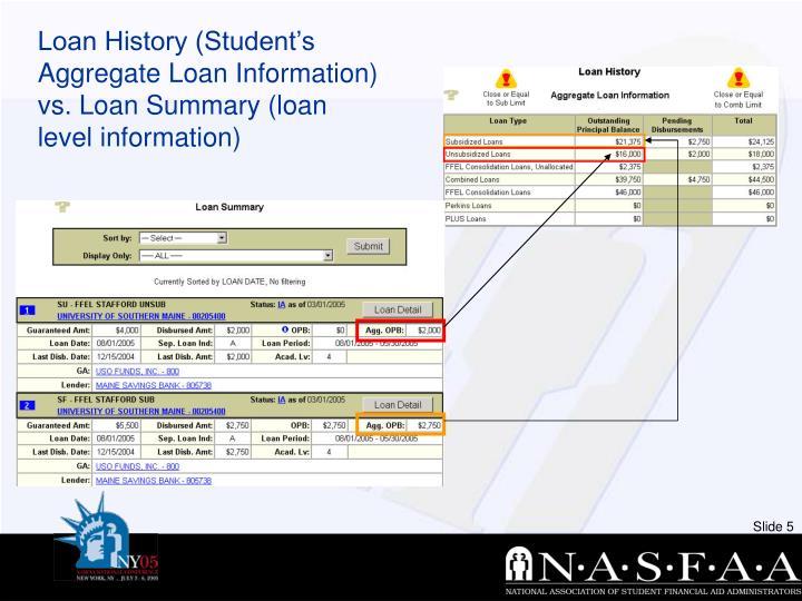 Loan History (Student's Aggregate Loan Information) vs. Loan Summary (loan level information)