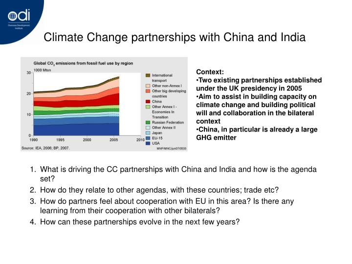 Climate Change partnerships with China and India