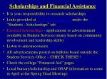 scholarships and financial assistance