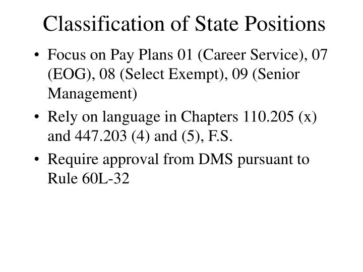 Classification of State Positions