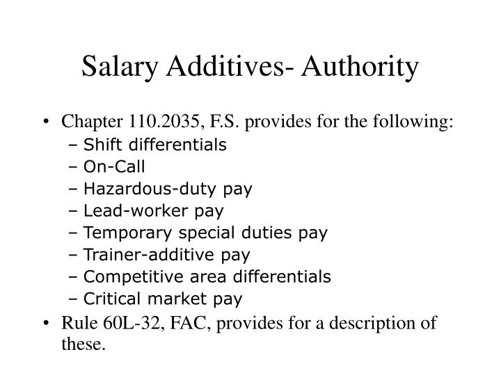 Salary Additives- Authority