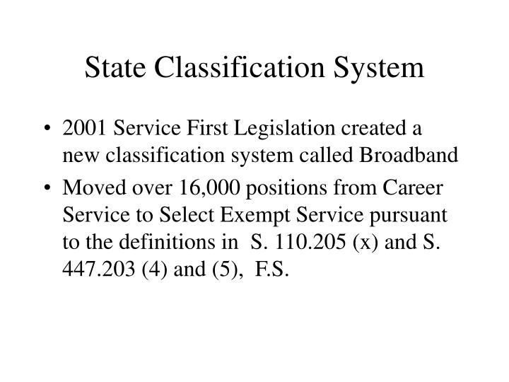State classification system