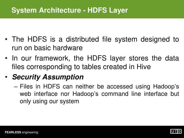 System Architecture - HDFS Layer
