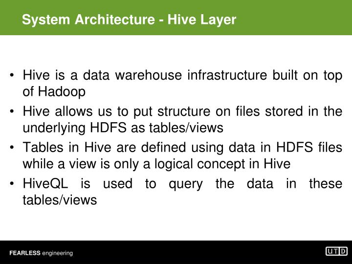 System Architecture - Hive Layer