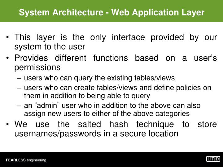 System Architecture - Web Application Layer