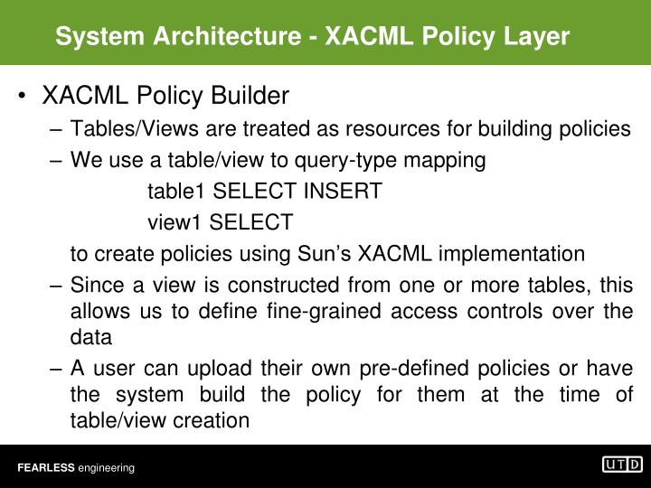 System Architecture - XACML Policy Layer