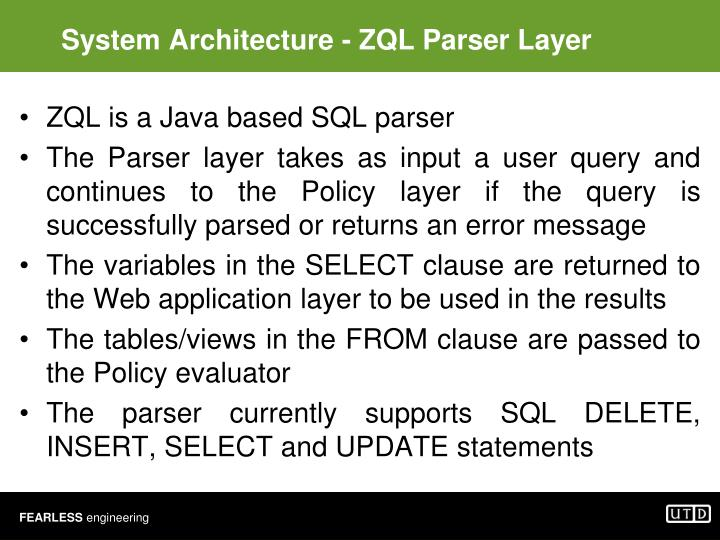 System Architecture - ZQL Parser Layer