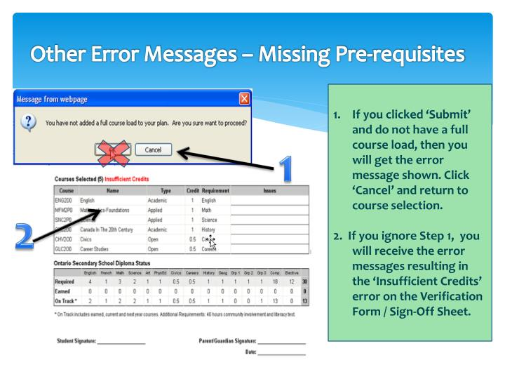 Other Error Messages – Missing Pre-requisites