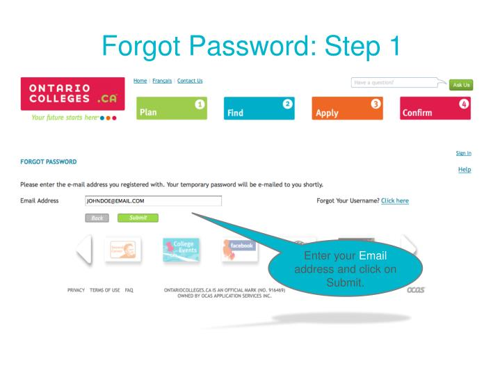Forgot Password: Step 1