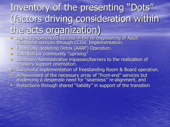 """Inventory of the presenting """"Dots"""" (factors driving consideration within the acts organization)"""