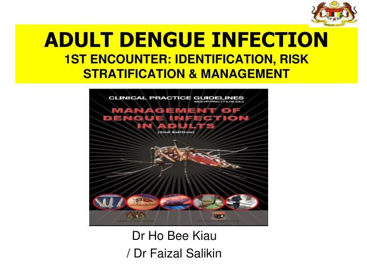 Adult dengue infection 1st encounter identification risk stratification management
