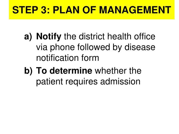 STEP 3: PLAN OF MANAGEMENT