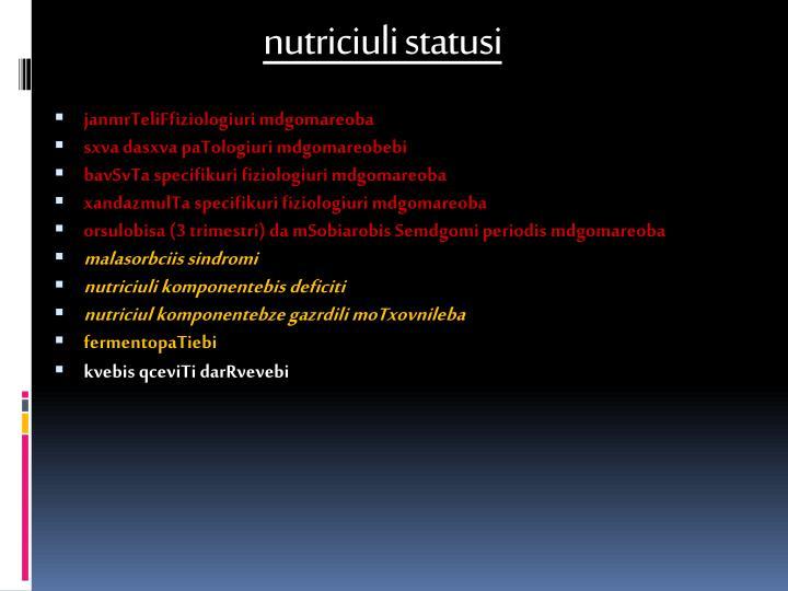 nutriciuli statusi