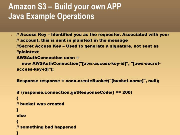 Amazon S3 – Build your own APP