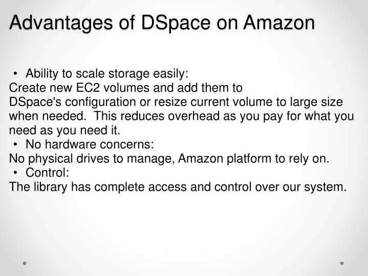 Advantages of DSpace on Amazon
