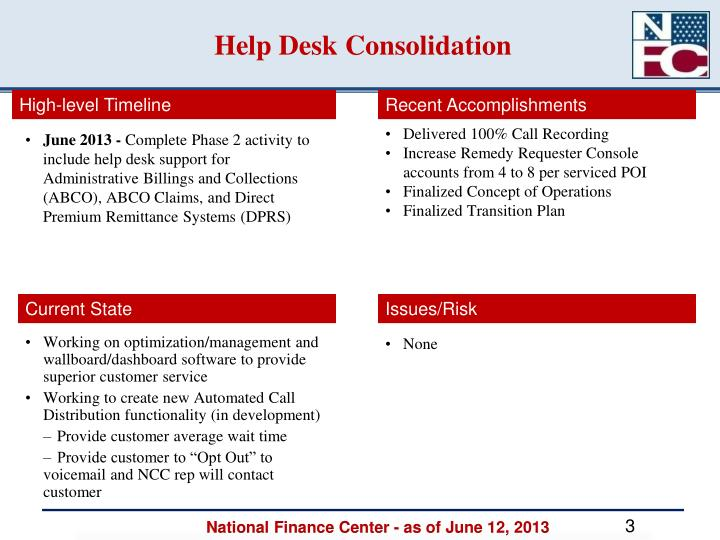 Help desk consolidation