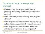 preparing to write the competitive proposal