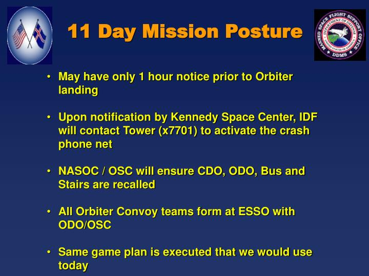 11 Day Mission Posture