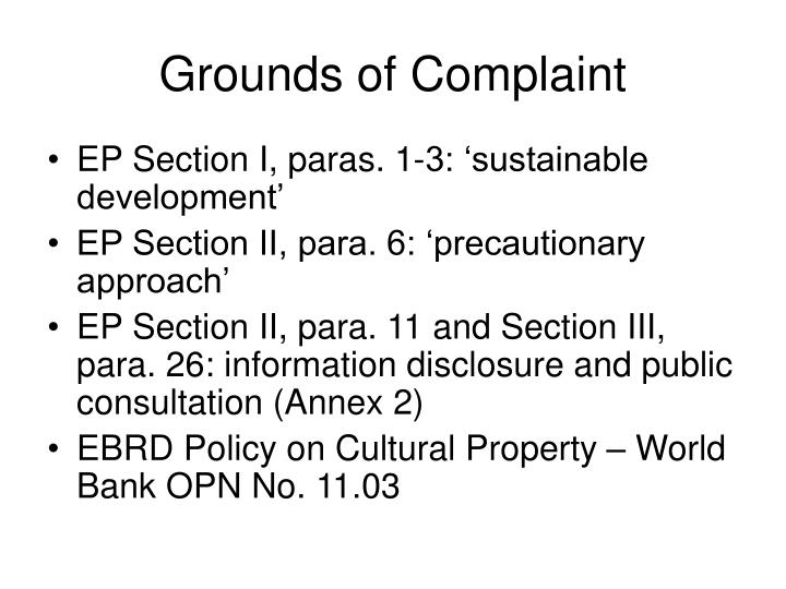 Grounds of Complaint