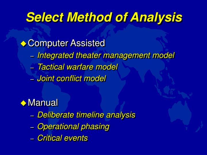 Select Method of Analysis