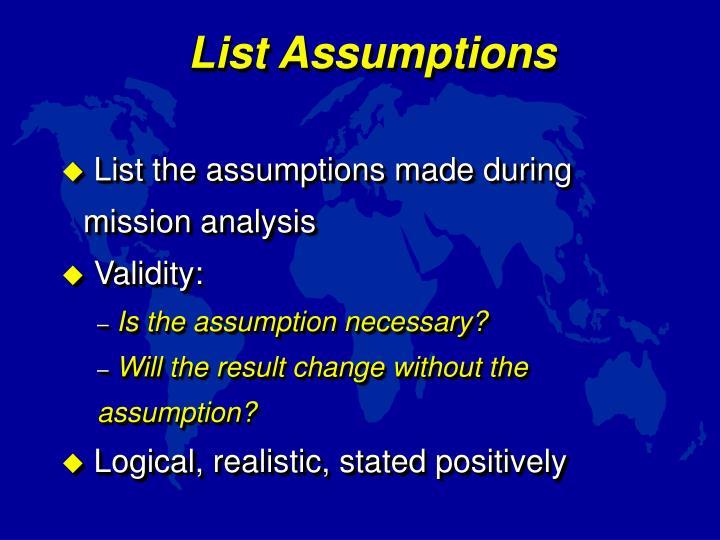 List Assumptions