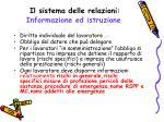 il sistema delle relazioni informazione ed istruzione