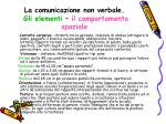 la comunicazione non verbale gli elementi il comportamento spaziale