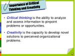 importance of critical thinking and creativity