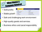 what makes a company admired