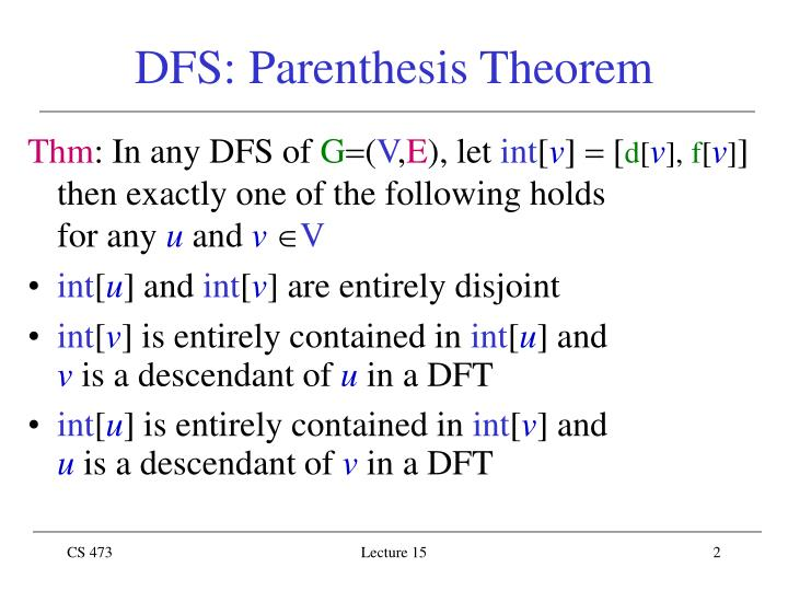 Dfs parenthes is theorem