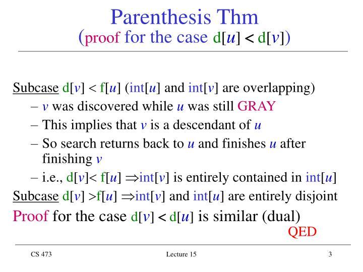 Parenthesis thm p roof for the case d u d v