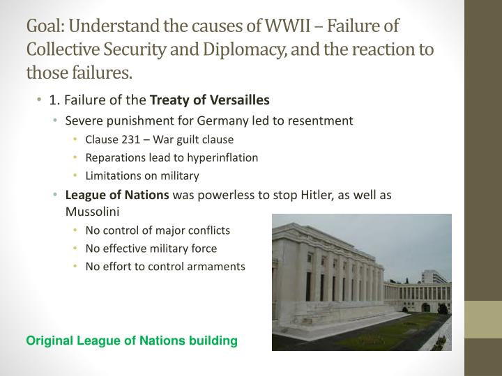 Goal: Understand the causes of WWII – Failure of Collective Security and Diplomacy, and the reacti...