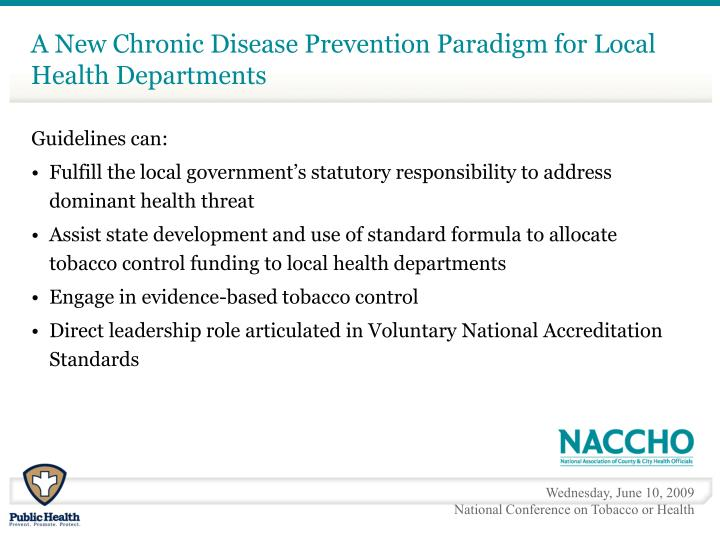 A New Chronic Disease Prevention Paradigm for Local Health Departments