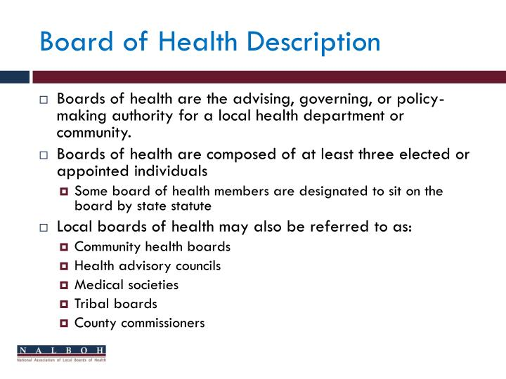 Board of Health Description