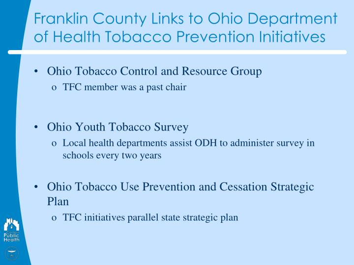Franklin County Links to Ohio Department of Health Tobacco Prevention Initiatives