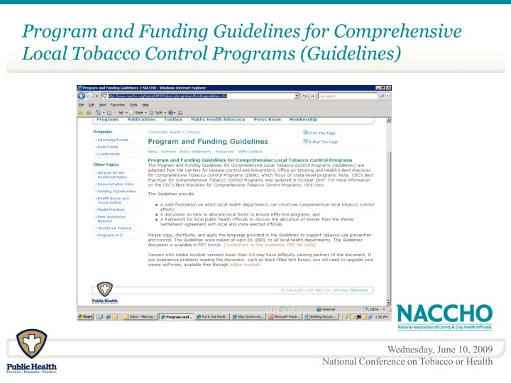 Program and Funding Guidelines for Comprehensive Local Tobacco Control Programs (Guidelines)